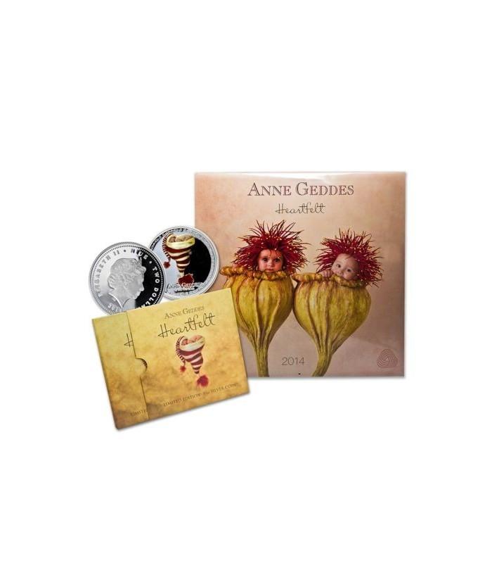 Niue 2014 $2 Anne Geddes Heartfelt 1 Oz Silver Proof Coin