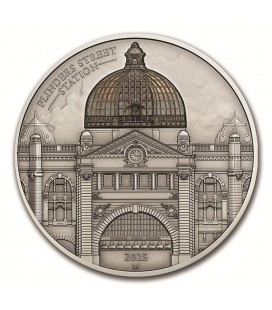 COOK ISL. $10 FLINDERS ST STATION 2OZ ANTIQUE SILVER COIN-2015