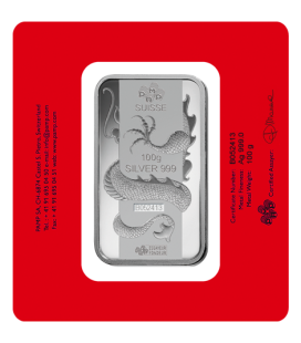 Lunar Dragon Silver Rectangular Ingot - 100g