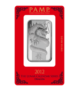 Lunar Dragon Silver Rectangular Ingot - 1oz