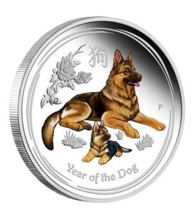 Lunar Silver Coin Series II 2018 Year of the Dog 1oz Silver Proof Coloured