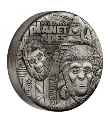Planet of the Apes 50th Anniversary 2018 2oz Silver Antiqued Coin