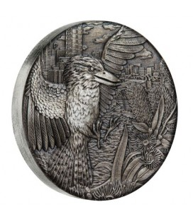 Kookaburra 2018 2oz Silver Antiqued High Relief Rimless Coin