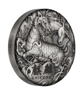 Qi Lin (Unicorn) 2018 2oz Silver Antiqued Coin