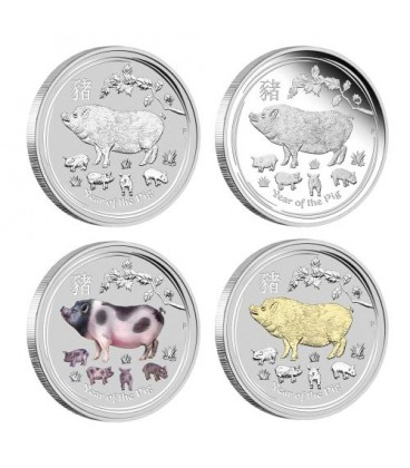 Australian Lunar Silver Coin Series II 2019 Year of the Pig 1oz Silver Typeset