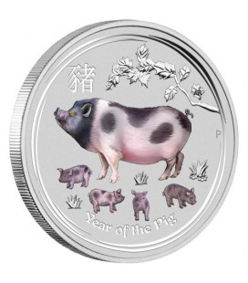 Lunar Series II Year of the Pig 2019 1 Kilo Silver Gemstone Edition