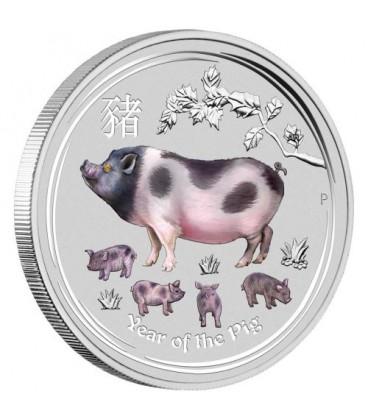 Lunar Series II Year of the Pig 2019 1 Kilo Silver Gemstone Edition