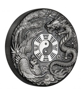 Dragon and Phoenix 2019 2oz Silver Antiqued Coin