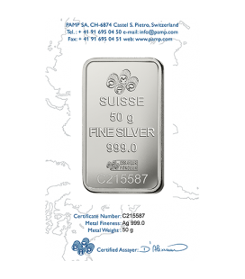 Fortuna Silver Rectangular Ingot - 50 g
