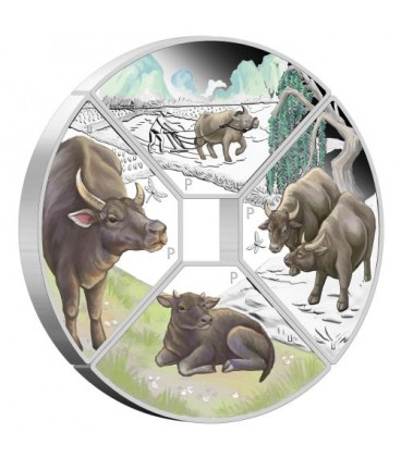 Year of the Ox Quadrant 2021 1oz Silver Proof Four-Coin Set