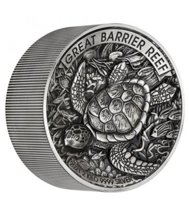 Great Barrier Reef 2021 2 Kilo Silver Antiqued High Relief Coin