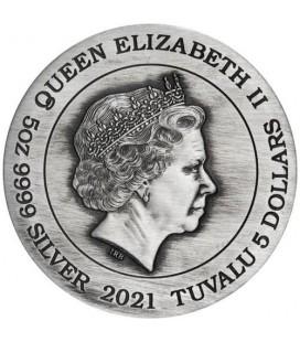 Zhao Yun 2021 5oz Silver Antiqued Coin