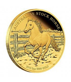 AUSTRALIAN STOCK HORSE 2015 5OZ GOLD PROOF COIN