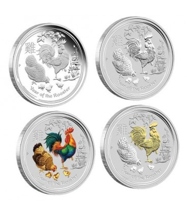 Lunar Series II 2017 Year of the Rooster 1oz Silver Typeset