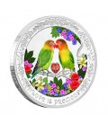 Love Is Precious Silver Coin - Lovebirds
