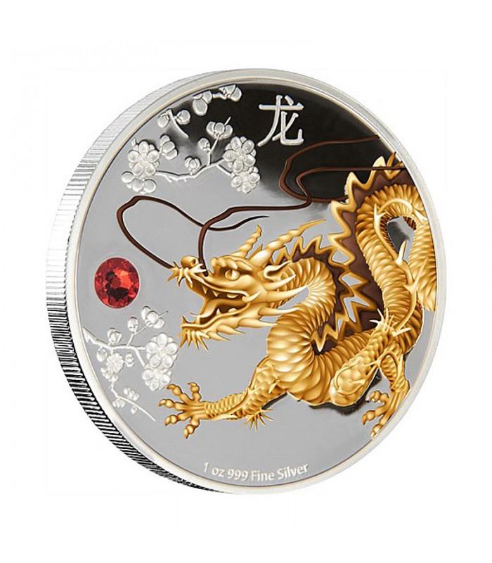 Feng Shui Silver Coin Dragon