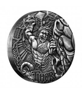 NORSE GODS - THOR 2016 2OZ SILVER HIGH RELIEF ANTIQUED COIN