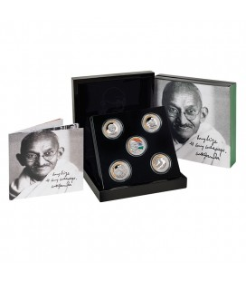 Gandhi Fine Silver Coin Set of 5 Coins