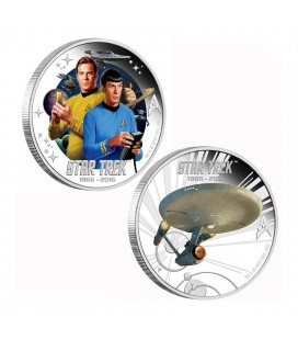 STAR TREK: THE ORIGINAL SERIES CAPTAIN JAMES T. KIRK AND SPOCK & U.S.S. ENTERPRISE NCC-1701 1OZ SILVER PROOF TWO-COIN SE