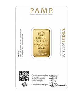 PAMP 1/2 Ounce Gold Bar