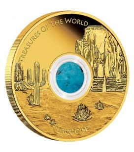 Treasures of the World – North America 2015 1oz Gold Proof Locket Coin with Turquoise