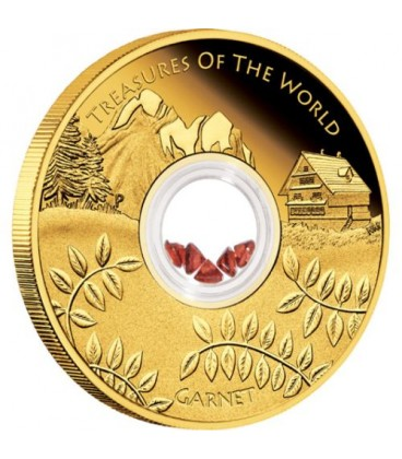 Treasures of the World – Europe 2013 1oz Gold Proof Locket Coin with Garnet