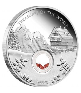 Treasures of the World — Europe 2013 1oz Silver Proof Locket Coin with Garnet